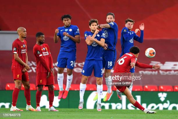 Trent Alexander-Arnold of Liverpool scores his team's second goal during the Premier League match between Liverpool FC and Chelsea FC at Anfield on...