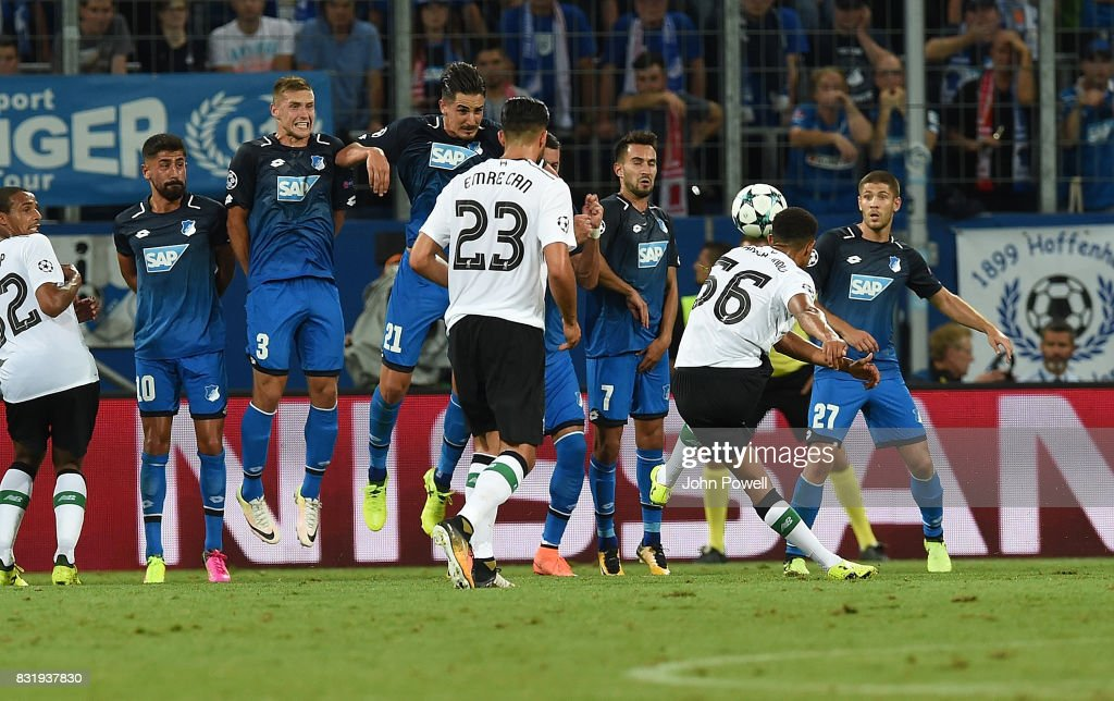 Trent Alexander-Arnold of Liverpool Scores The opener during the UEFA Champions League Qualifying Play-Offs Round First Leg match between 1899 Hoffenheim and Liverpool FC at Wirsol Rhein-Neckar-Arena on August 15, 2017 in Sinsheim, Germany.