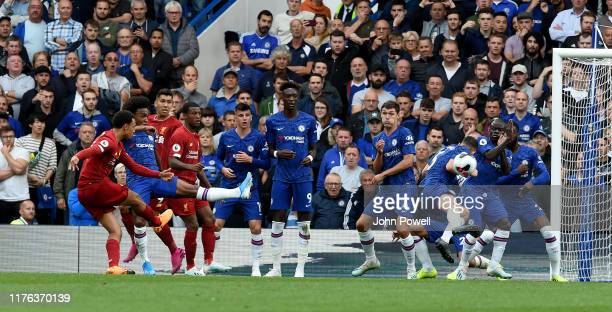Trent AlexanderArnold of Liverpool scoring the opening goal during the Premier League match between Chelsea FC and Liverpool FC at Stamford Bridge on...