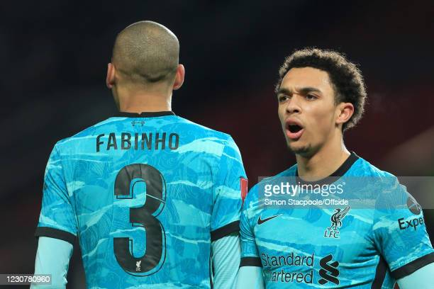 Trent Alexander-Arnold of Liverpool shouts during The Emirates FA Cup Fourth Round match between Manchester United and Liverpool at Old Trafford on...