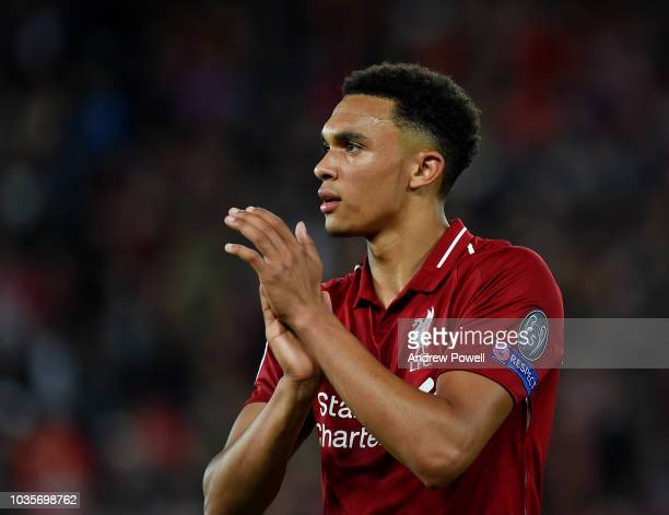 Trent AlexanderArnold of Liverpool shows his appreciation to the fans at the end of the end of the Group C match of the UEFA Champions League between...