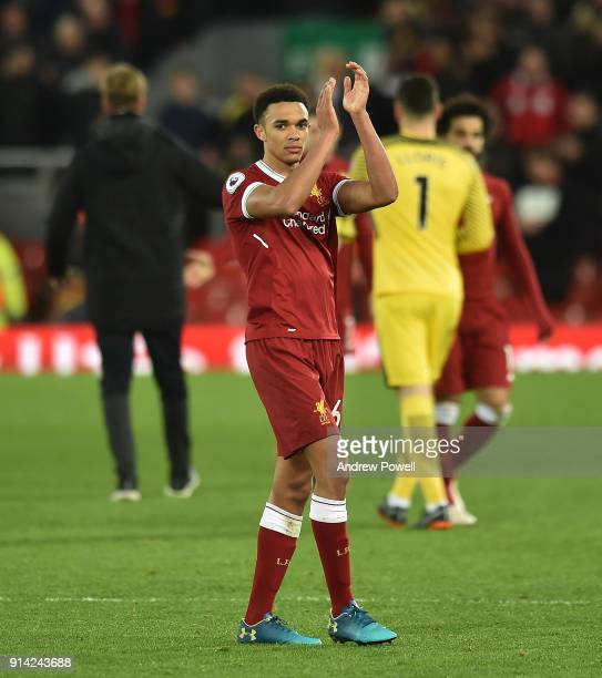 Trent AlexanderArnold of Liverpool shows his appreciation to the fans at the end of the Premier League match between Liverpool and Tottenham Hotspur...