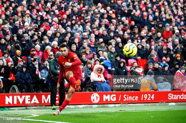 Trent Alexander-Arnold of Liverpool takes a corner during the Premier League match between Liverpool FC and Watford FC at Anfield on December 14,...