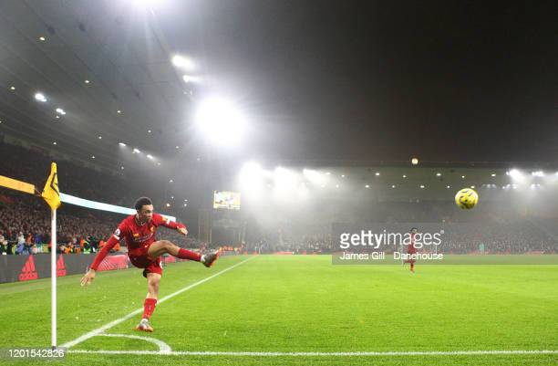 Trent Alexander-Arnold of Liverpool takes a corner during the Premier League match between Wolverhampton Wanderers and Liverpool FC at Molineux on...