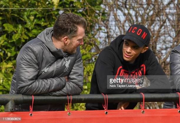 Trent AlexanderArnold of Liverpool talks with Academy Director Alex Inglethorpe during the U18 Premier League game at The Kirkby Academy on March 2...