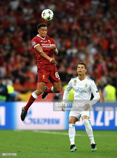 Trent AlexanderArnold of Liverpool wins a header during the UEFA Champions League Final between Real Madrid and Liverpool at NSC Olimpiyskiy Stadium...
