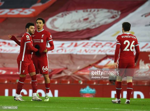 Trent Alexander-Arnold of Liverpool with Alex Oxlade-Chamberlain of Liverpool before the Premier League match between Liverpool and Burnley at...