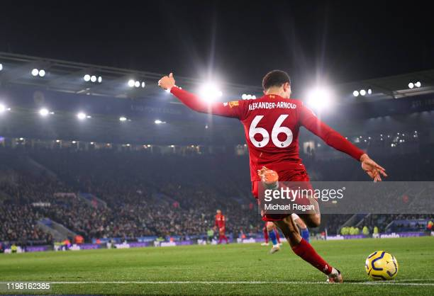 Trent Alexander-Arnold takes a corner during the Premier League match between Leicester City and Liverpool FC at The King Power Stadium on December...