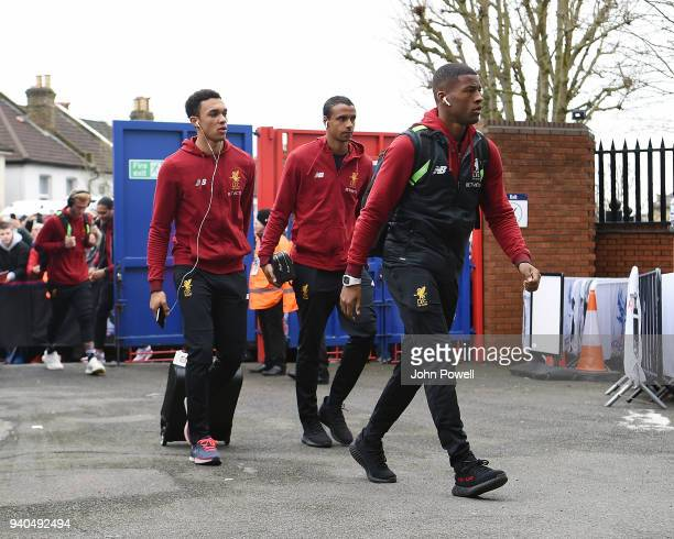 Trent AlkexanderArnold Joel Matip and Georginio Wijnaldum of Liverpool arrive before the Premier League match between Crystal Palace and Liverpool at...