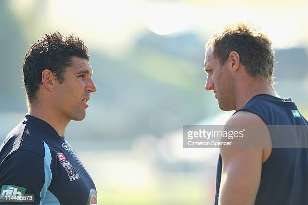 Trent Barrett of the Blues talks to Mark Gasnier during a New South Wales Blues State of Origin training session at Coogee Oval on May 20 2011 in...