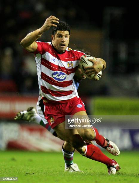 Trent Barrett of Wigan in actin during the engage Super League match between Wigan Warriors and Harlequins RL at the JJB Stadium on March 9 2007 in...