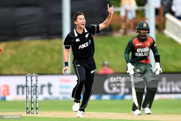 Trent Boult of New Zealand appeals for the wicket of Tamim Iqbal during game one of the One Day International series between the New Zealand...