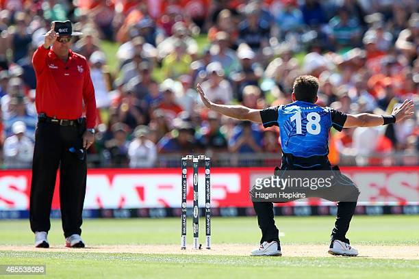Trent Boult of New Zealand appeals successfully to umpire Johan Cloete of South Africa for the wicket of Javed Ahmadi of Afghanistan during the 2015...