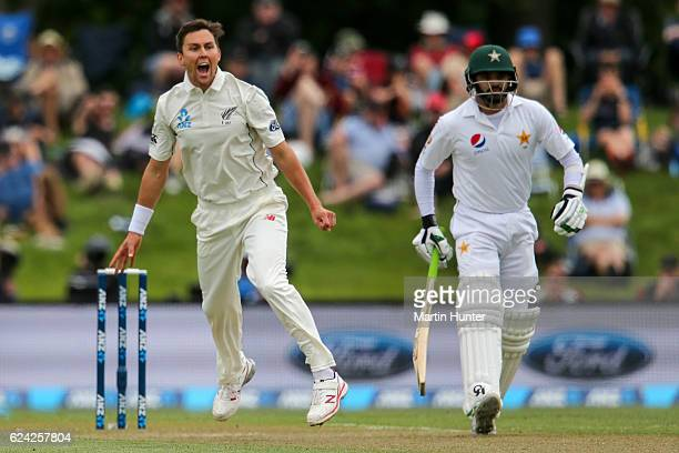 Trent Boult of New Zealand appeals unsuccessfully during day three of the First Test between New Zealand and Pakistan at Hagley Oval on November 19...