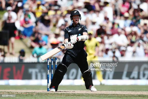 Trent Boult of New Zealand bats during game three of the One Day International series between New Zealand and Australia at Seddon Park on February 5...