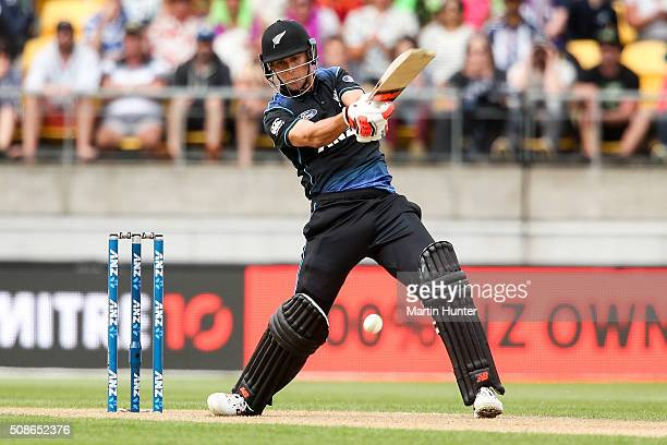 Trent Boult of New Zealand bats during game two of the one day international series between New Zealand and Australia at Westpac Stadium on February...