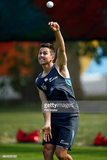 Trent Boult of New Zealand bowls during a New Zealand Black Caps training session at Eden Park on February 25 2015 in Auckland New Zealand