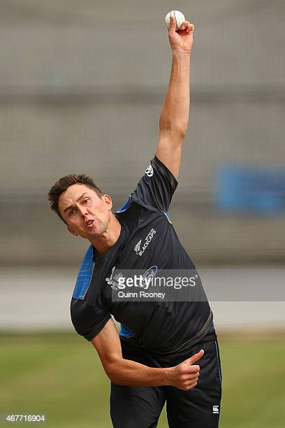 Trent Boult of New Zealand bowls during a New Zealand nets session at Melbourne Cricket Ground on March 27 2015 in Melbourne Australia