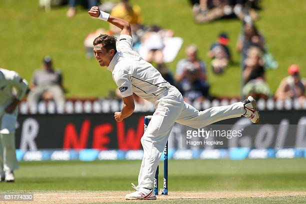 Trent Boult of New Zealand bowls during day five of the First Test match between New Zealand and Bangladesh at Basin Reserve on January 16 2017 in...