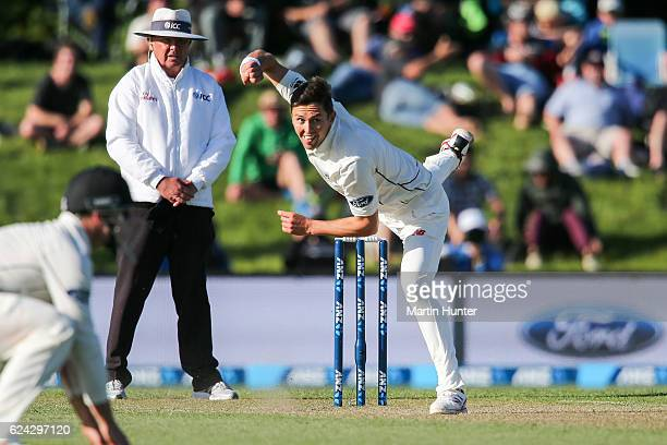 Trent Boult of New Zealand bowls during day three of the First Test between New Zealand and Pakistan at Hagley Oval on November 19 2016 in...