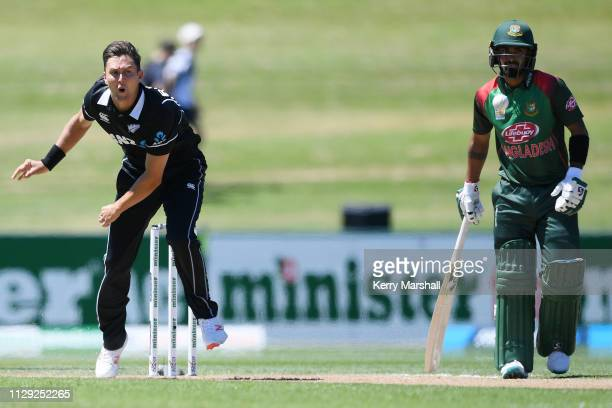 Trent Boult of New Zealand bowls during Game 1 of the One Day International series between New Zealand v Bangladesh at McLean Park on February 13...