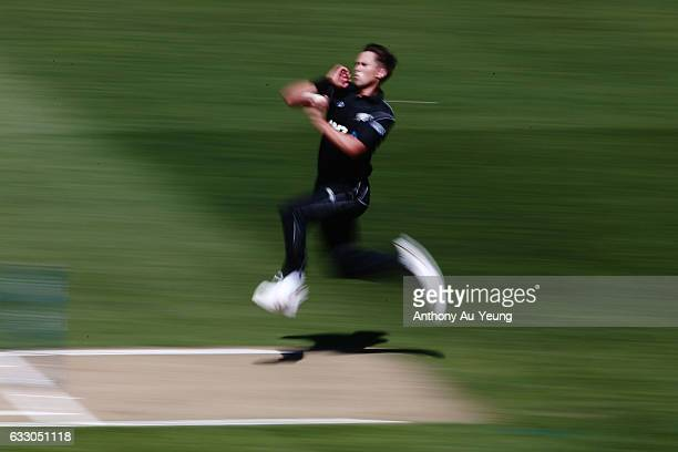 Trent Boult of New Zealand bowls during the first One Day International game between New Zealand and Australia at Eden Park on January 30 2017 in...