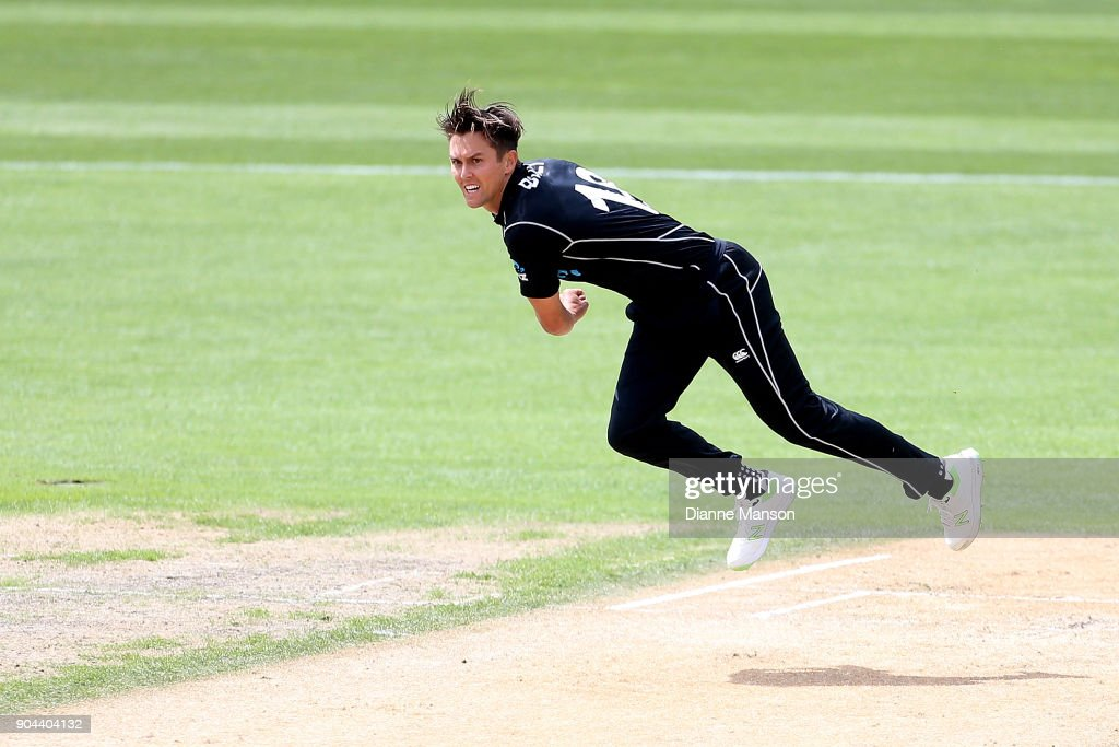 Trent Boult of New Zealand bowls during the third game of the One Day International Series between New Zealand and Pakistan at University of Otago Oval on January 13, 2018 in Dunedin, New Zealand.