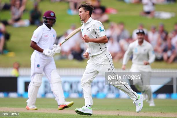 Trent Boult of New Zealand celebrates after ctching Shimron Hetmyer of the West Indies out during day two of the Second Test Match between New...