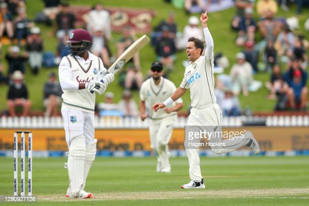 Trent Boult of New Zealand celebrates after dismissing Darren Bravo of West Indies during day three of the second test match in the series between...