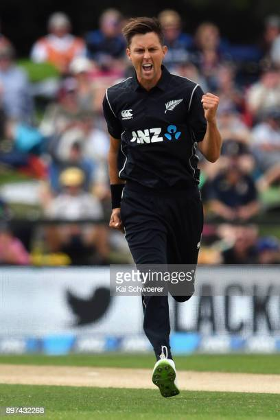Trent Boult of New Zealand celebrates after dismissing Shimron Hetmyer of the West Indies during the One Day International match between New Zealand...