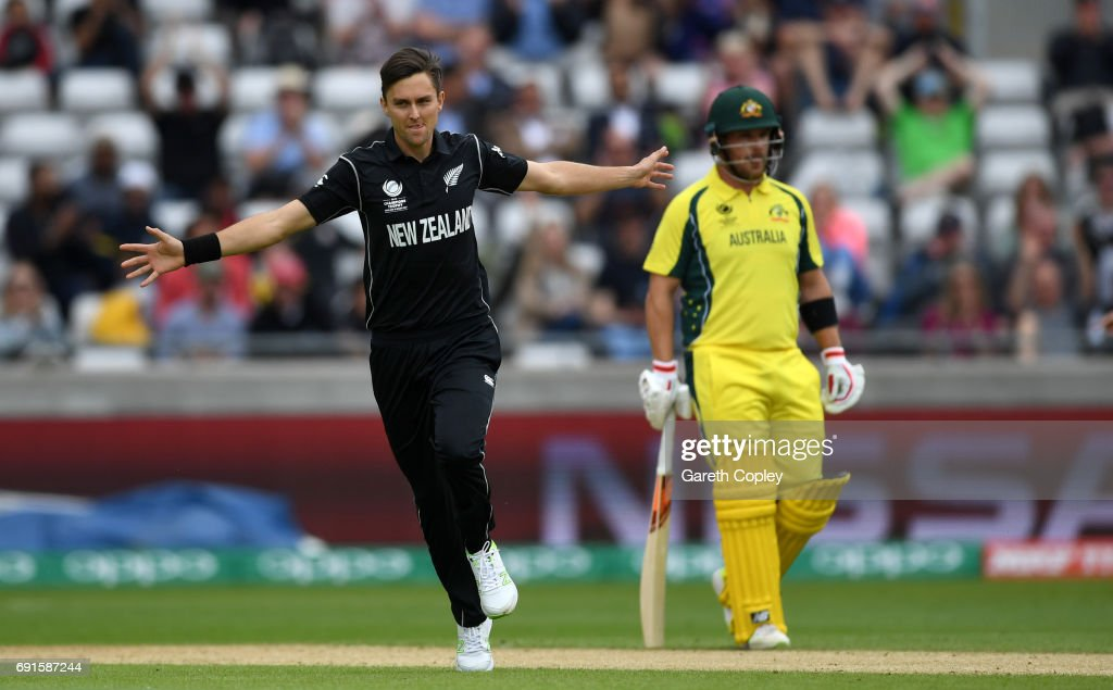 Trent Boult of New Zealand celebrates dismissing David Warner of Australia during the ICC Champions Trophy match between Australia and New Zealand at Edgbaston on June 2, 2017 in Birmingham, England.
