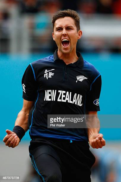 Trent Boult of New Zealand celebrates his wicket of Hashim Amla of South Africa during the 2015 Cricket World Cup Semi Final match between New...