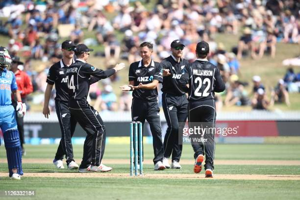 Trent Boult of New Zealand celebrates his wicket of Shubman Gill of India during game four of the One Day International series between New Zealand...