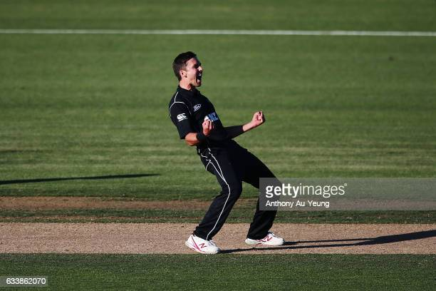 Trent Boult of New Zealand celebrates the last wicket Josh Hazlewood of Australia to win game three of the One Day International series between New...