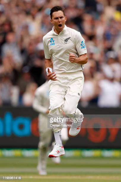 Trent Boult of New Zealand celebrates the wicket of Joe Burns of Australia during day one of the Second Test match in the series between Australia...