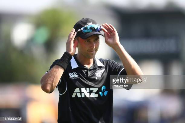 Trent Boult of New Zealand during game four of the One Day International series between New Zealand and India at Seddon Park on January 31 2019 in...