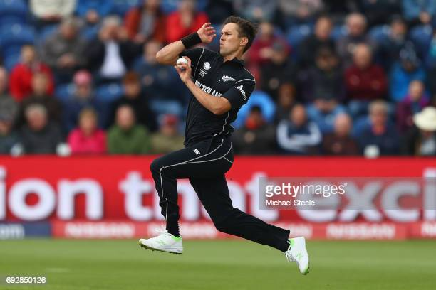 Trent Boult of New Zealand during the ICC Champions Trophy match between England and New Zealand at the SWALEC Stadium on June 6 2017 in Cardiff Wales