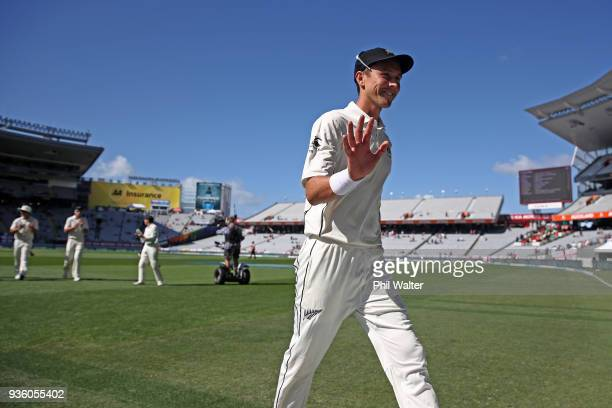 Trent Boult of New Zealand leaves the field after taking six wickets in the first innings during day one of the First Test match between New Zealand...