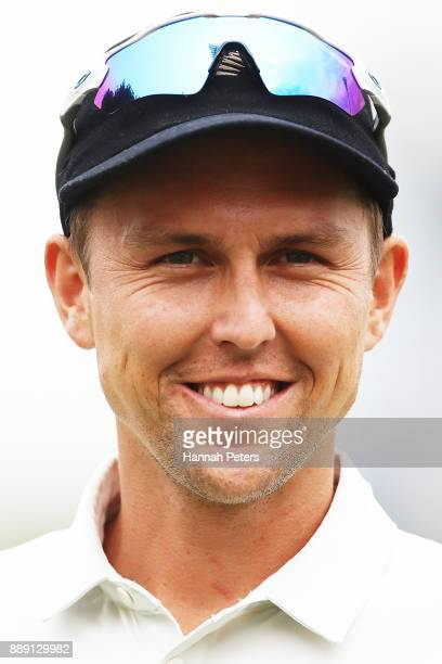 Trent Boult of New Zealand looks on during day two of the Second Test Match between New Zealand and the West Indies at Seddon Park on December 10...