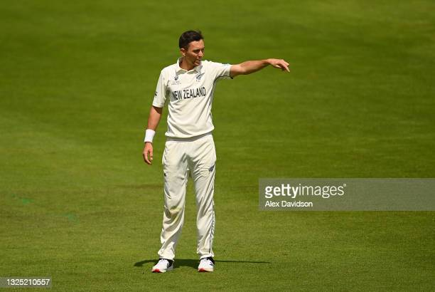 Trent Boult of New Zealand looks on during the Reserve Day of the ICC World Test Championship Final between India and New Zealand at The Hampshire...