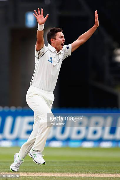 Trent Boult of New Zealand makes a sucessfull appeal for the wicket of Kumar Sangakkara of Sri Lanka during day five of the Second Test match between...