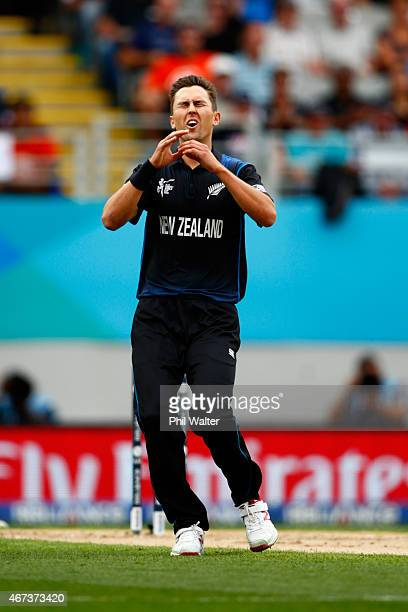 Trent Boult of New Zealand reacts after a lost chance during the 2015 Cricket World Cup Semi Final match between New Zealand and South Africa at Eden...
