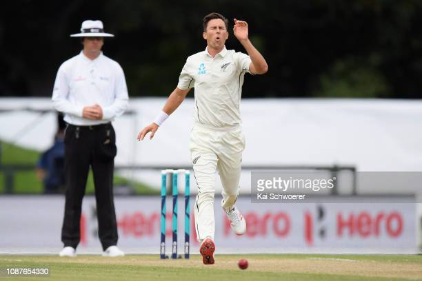 Trent Boult of New Zealand reacts during day four of the Second Test match in the series between New Zealand and Sri Lanka at Hagley Oval on December...