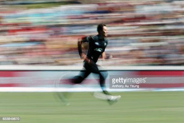 Trent Boult of New Zealand runs up to bowl during game three of the One Day International series between New Zealand and Australia at Seddon Park on...