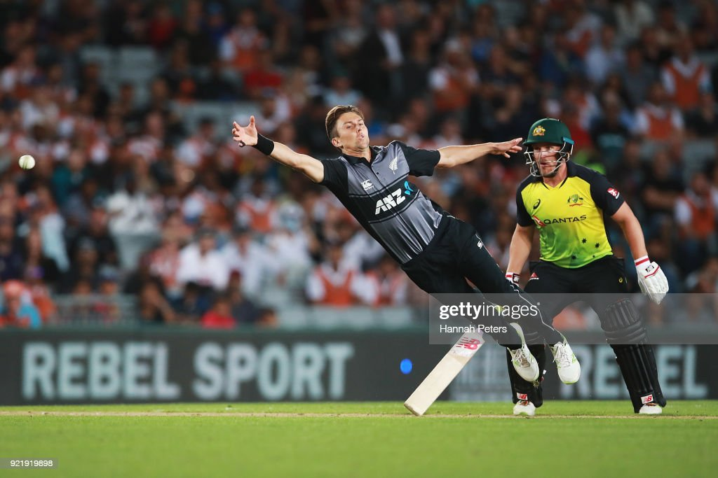 Trent Boult of the Black Caps fields during the International Twenty20 Tri Series Final match between New Zealand and Australia at Eden Park on February 21, 2018 in Auckland, New Zealand.