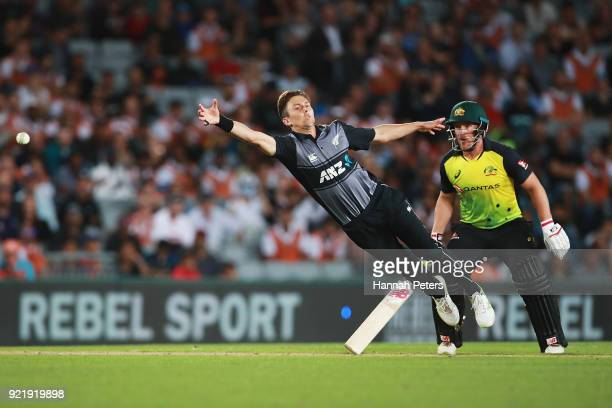 Trent Boult of the Black Caps fields during the International Twenty20 Tri Series Final match between New Zealand and Australia at Eden Park on...