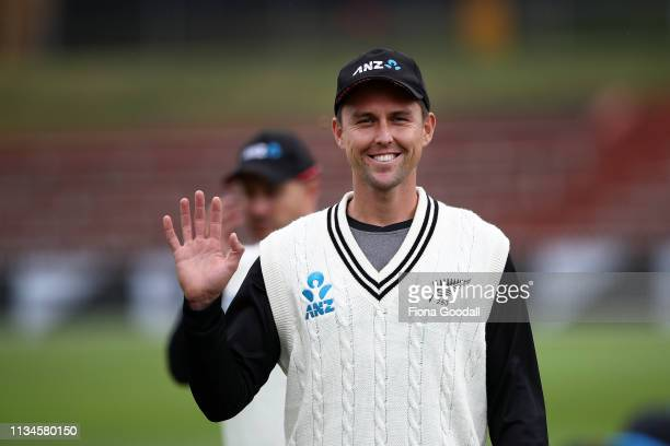 Trent Boult of the Black Caps warms up after lengthy rain delays during day 2 of the second Test Series between New Zealand and Bangladesh at at...