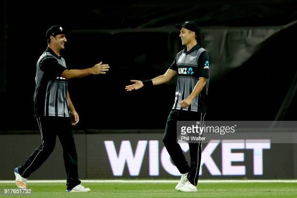 Trent Boult of the Blackcaps celebrates catching out Dawid Malan of England during the International Twenty20 match between New Zealand and England...