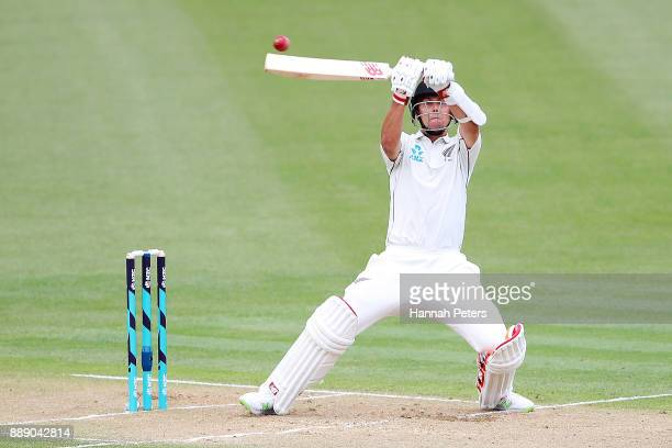 Trent Boult pulls the ball away for six runs during day two of the Second Test Match between New Zealand and the West Indies at Seddon Park on...