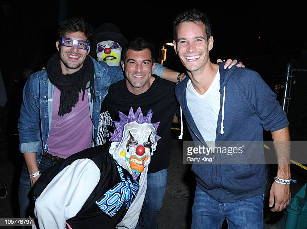 Trent Brady Ethan Peterson and TV personality Frank Meli attend Knott's Scary Farm on October 14 2010 in Buena Park California